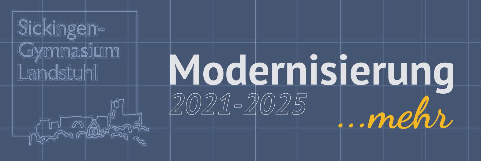 Logo der Modernisierungsarbeiten am Sickingen-Gymnasium. Schullogo als Blaupause mit Schriftzug Modernisierung.